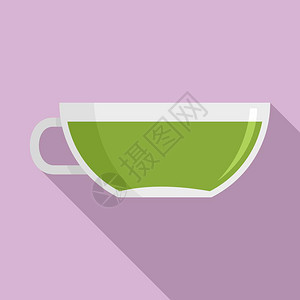 红茶杯图标叶矢量图标的平板插用于网络设计红茶杯图标平板风格图片