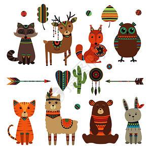 部落儿童野生动物园猫头鹰浣熊虎配有羽箭和模式矢量设计字符说明种族部落兔子和角色可爱的民族动物部落野生动物园图片