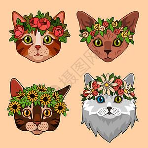 长着花冠的猫头鹰圈的可爱猫生日贺卡的滑稽小猫女孩矢量的漂亮肖像公主头朝小猫的印像头戴花冠的可爱猫生日贺卡的有趣小猫女孩矢量的印像图片