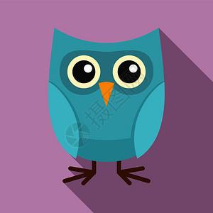 可爱猫头鹰图标用于网络设计的可爱猫头鹰矢量图标的平版插可爱猫头鹰标平版风格图片