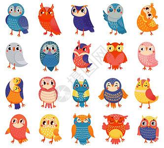 卡通猫头鹰可爱的彩色猫头鹰森林鸟和手画的小猫头鹰字涂鸦的小猫头鹰表达方式孤立的矢量说明图标森林鸟和手画的小猫头鹰矢量插图图片