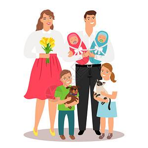 新出生的双胞胎和宠物病媒说明家庭男孩母亲和父新出生的双胞胎和宠物病媒说明图片