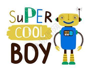 超酷男孩设计t恤平板字符机器人格时装机器人玩具配有标语文字矢量插图平板字符机器人图片