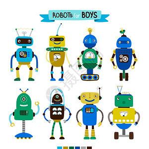 为男孩组的可爱漫画机器人在白色背景上隔离矢量图示为男孩组的漫画机器人图片