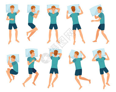 男人睡不同姿势男人睡格人睡在床上最高视图矢量集收男孩在夜间休息或睡梦期间处于不同姿势或中的男孩收集睡不同姿势或的男孩人睡格人睡在图片