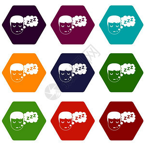 带语音泡沫图标的男孩头组了在白色矢量插图上隔离的许多颜色六环带有语音泡沫图标的男孩头设定了六环的颜色图片