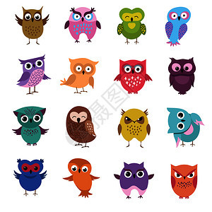 猫头鹰人字鸟动物绘画漫和幼稚插图可爱的卡通猫头鹰人字矢量图片