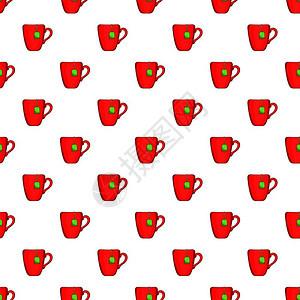 红茶杯叶矢量模式的漫画插图用于网络红茶杯卡通风格图片