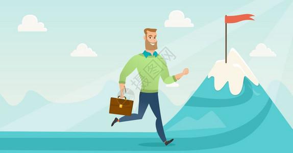 商人在山顶上奔驰象征着商业目标男人站在通往商业目标的道路上商业目标概念矢量平面设计插图水平布局商人奔向业目标图片