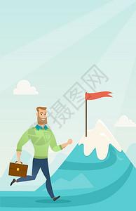 商人在山顶上奔驰象征着商业目标人站在通往其目标的道路上商业目标概念矢量平面设计图纵向布局商人奔其业目标图片
