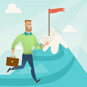 商人在山顶上奔驰象征着商业目标人站在通往他目标的道路上商业目标概念矢量平面设计图广场布局商人奔向业目标图片
