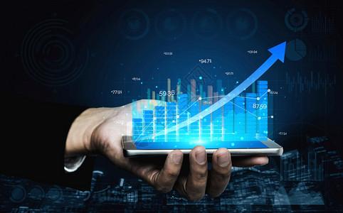 商业和金融商人的双重形象报告显示股票市场投资的金融利润增长趋势图片
