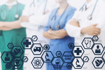 医疗保健概念医院生带有疗图标的生现代接口显示药品创新医疗急诊服务博士数据和病人健康等标志图片
