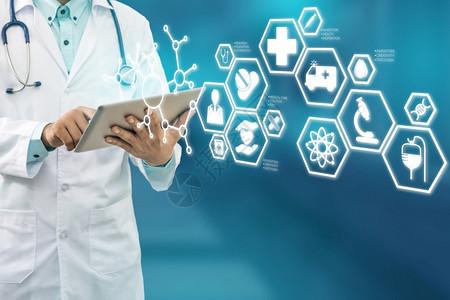 医疗保健概念医院生带有疗图标现代接口显示药品创新医疗急诊服务博士数据和病人健康等符号图片