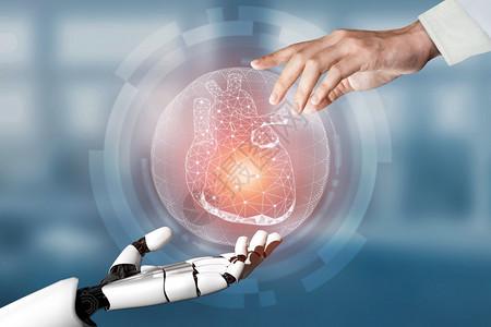 3d使医疗人工智能机器在未来医院工作病人和生物医学技术概念的未来假肢保健图片