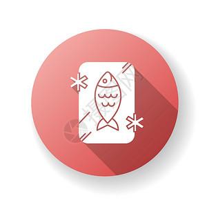 冷冻食物红茶冷冻有机海鲜鲑鱼冰中新鲜金鱼胃部分环形紫色图示设计长阴影灰色图标图片