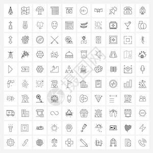 医院标志食品医疗菜单矢量插图上10套现代符号的界面线图标图片