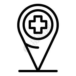 医院地理图标医院地理图矢量概要标用于孤立白色背景的网络设计医院地理图标大纲样式图片