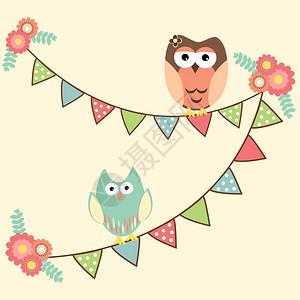 挂着猫头鹰的矢量生日派对卡图片