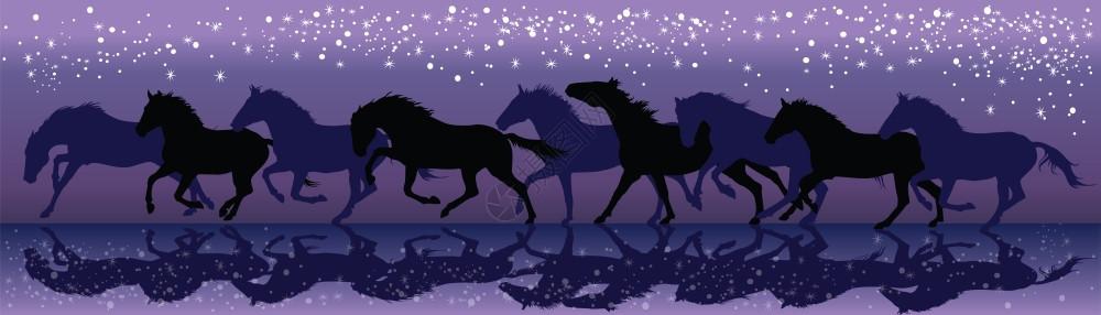 在恒星矢量插图下夜里黑马在下奔驰图片