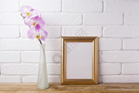在优雅的玻璃花瓶中用粉红兰花的鲜色兰花制成的模型用于展示艺术品的空框架现代艺术的模板由粉红兰花制成的彩色模型图片