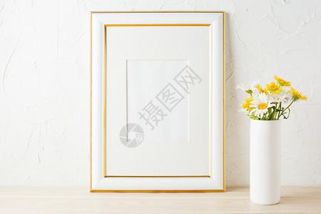 金色装饰框架模型有黄色和白的菊花金装饰框架模型有白色和黄的菊花在圆瓶中空框架模型用于展示艺术品现代模板框架图片
