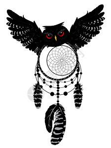 卡通猫头鹰装饰梦想捕捉者插图图片