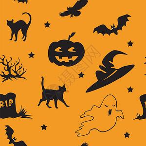 以橙色背景和股票图示显的不同圣像蝙蝠猫头鹰鬼黑猫巫帽明星为无缝的矢量模式图片