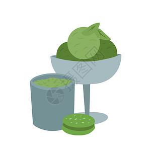 茶杯冰淇淋饼干和绿叶菜单食谱和创造力的矢量平板图红茶粉的甜点杯饼干和绿叶图片