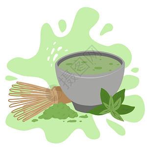 茶杯火柴粉胡须和绿叶菜单食谱和你的创造力矢量平板图绿宝石上的日本红茶粉传统仪式矢量平板图绿树枝上的日本红茶粉杯胡须和绿叶图片