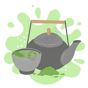 茶杯火柴粉粘土茶壶和绿叶菜单食谱和你的创造力矢量平板图绿色喷洒的日本红茶粉传统会矢量平板图茶杯粘土壶和绿叶图片