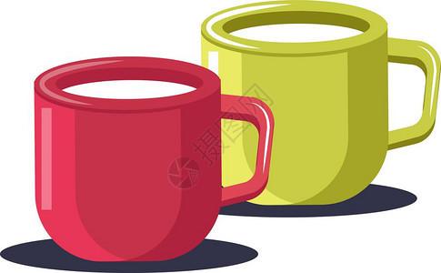两杯绿色和红茶为叶或咖啡媒介的彩色绘画或插图服务图片