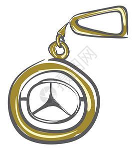 金色奔驰钥匙链带有银徽章矢量彩色画或插图图片