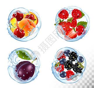 樱桃草莓梅矢量图片