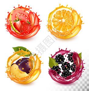 草莓瓜瓦橙子梅黑莓图片