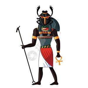 埃及文化宗教象征以人形和甲虫头戴着神圣标志图片