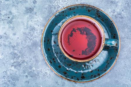 蓝杯红茶顶端风景工作室照片图片