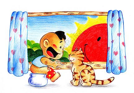 童年的猫图片