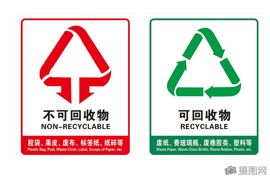 环保垃圾桶标志图片