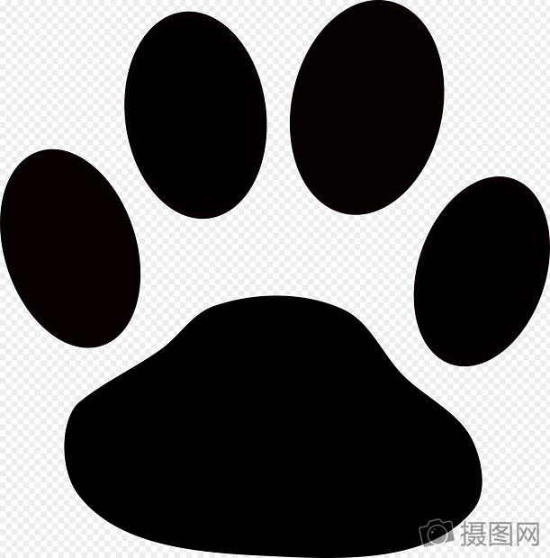 黑白动物脚印