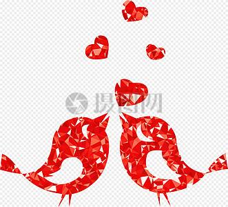 红色浪漫爱情鸟图片