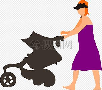 推着婴儿车的女人图片
