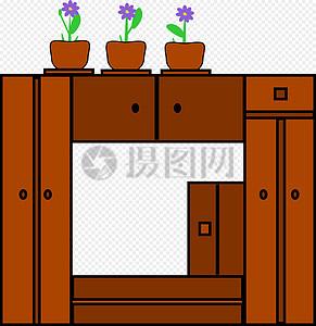 棕色实木柜子图片