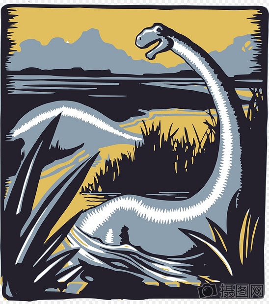 古代恐龙版画
