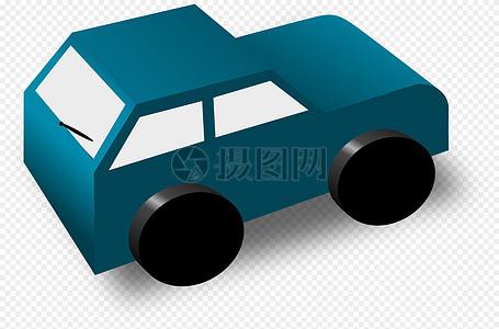 蓝色卡通车图片