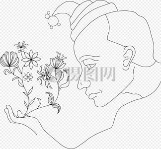 赏花的男人图片