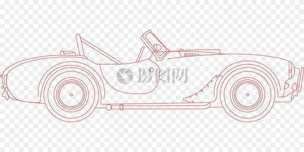 敞篷跑车单色线条图图片