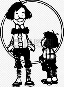卡通男子和孩子图片