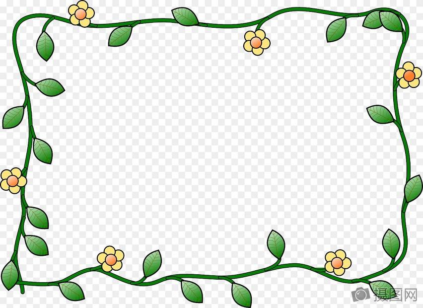 绿叶花边边框图片