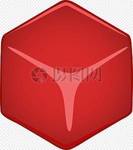 立方体红色按钮图标图片